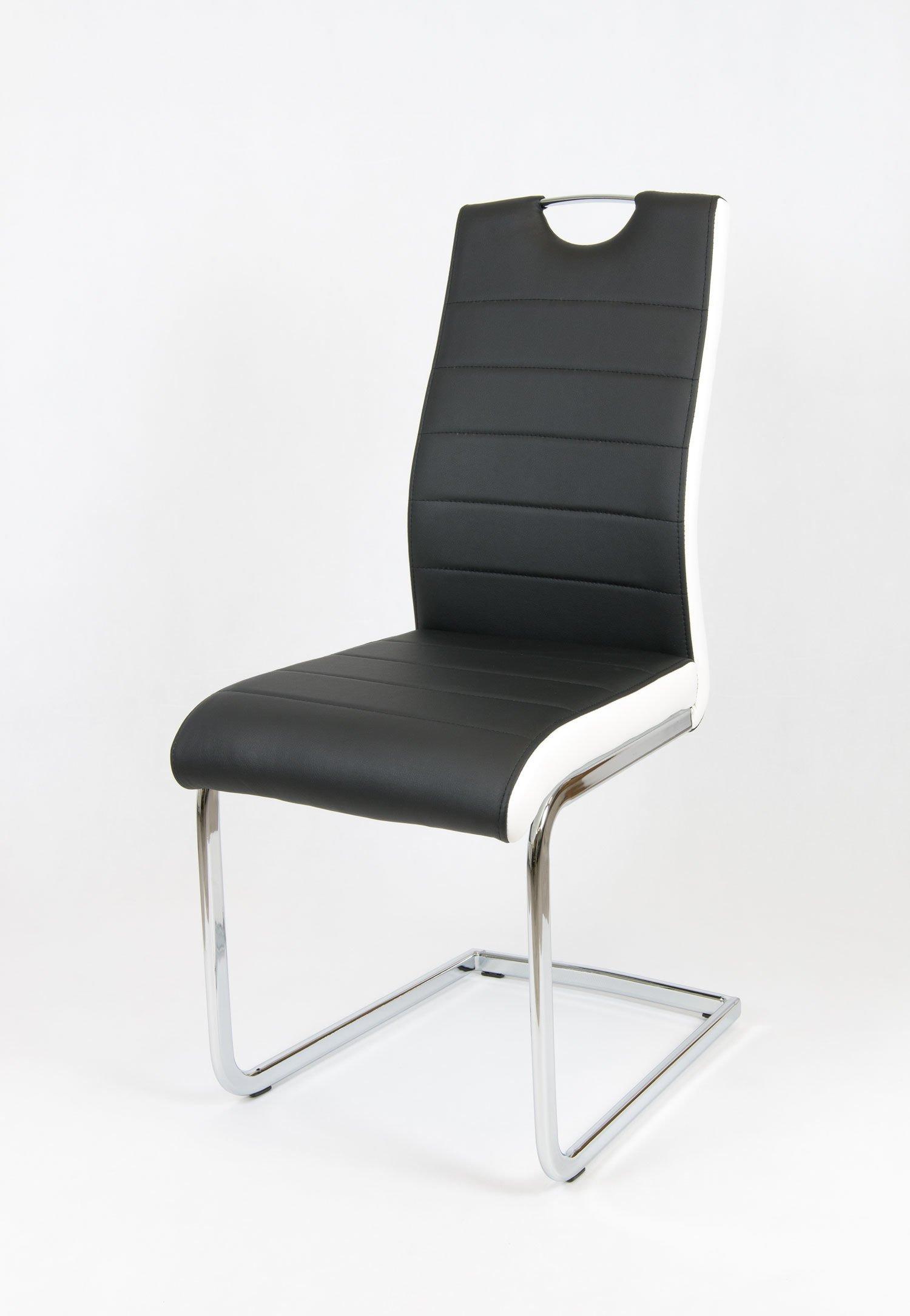 sk design ks037 schwarz kunsleder stuhl mit chrome schwarz angebot st hle farbe schwarz. Black Bedroom Furniture Sets. Home Design Ideas