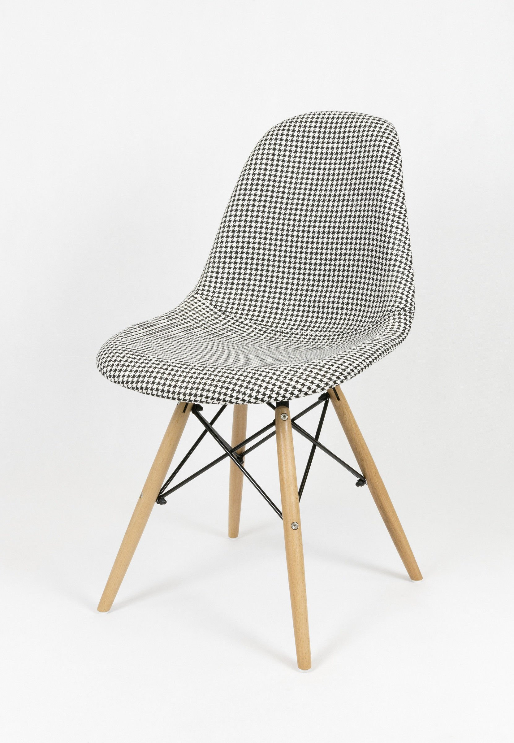 Góra SK Design KR012 Tapicerowane Krzesło Pepitka Buk PEPITKA \ Drewno WB51