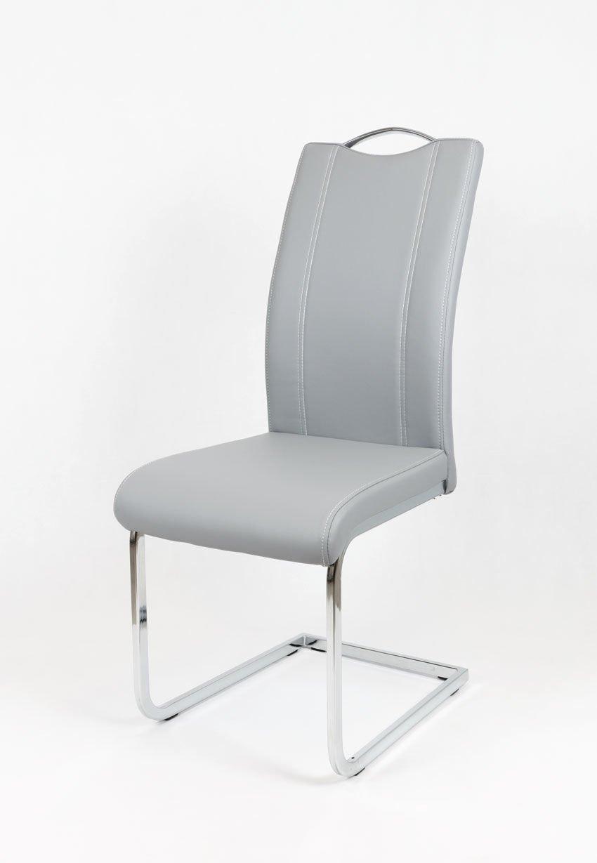 Sk design ks003 grau kunsleder stuhl mit chromgestell grau for Design stuhl grau