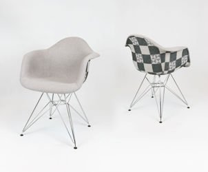 SK DESIGN KR012F TKRSZM UPHOLSTERED ARMCHAIR CHECKERED CHROME