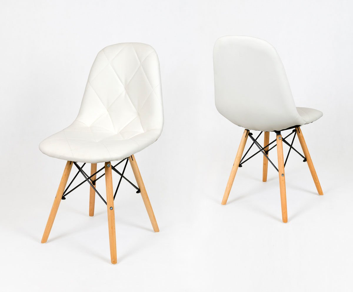 White Synthetic Leather Chair With Wooden Legs Click To Zoom