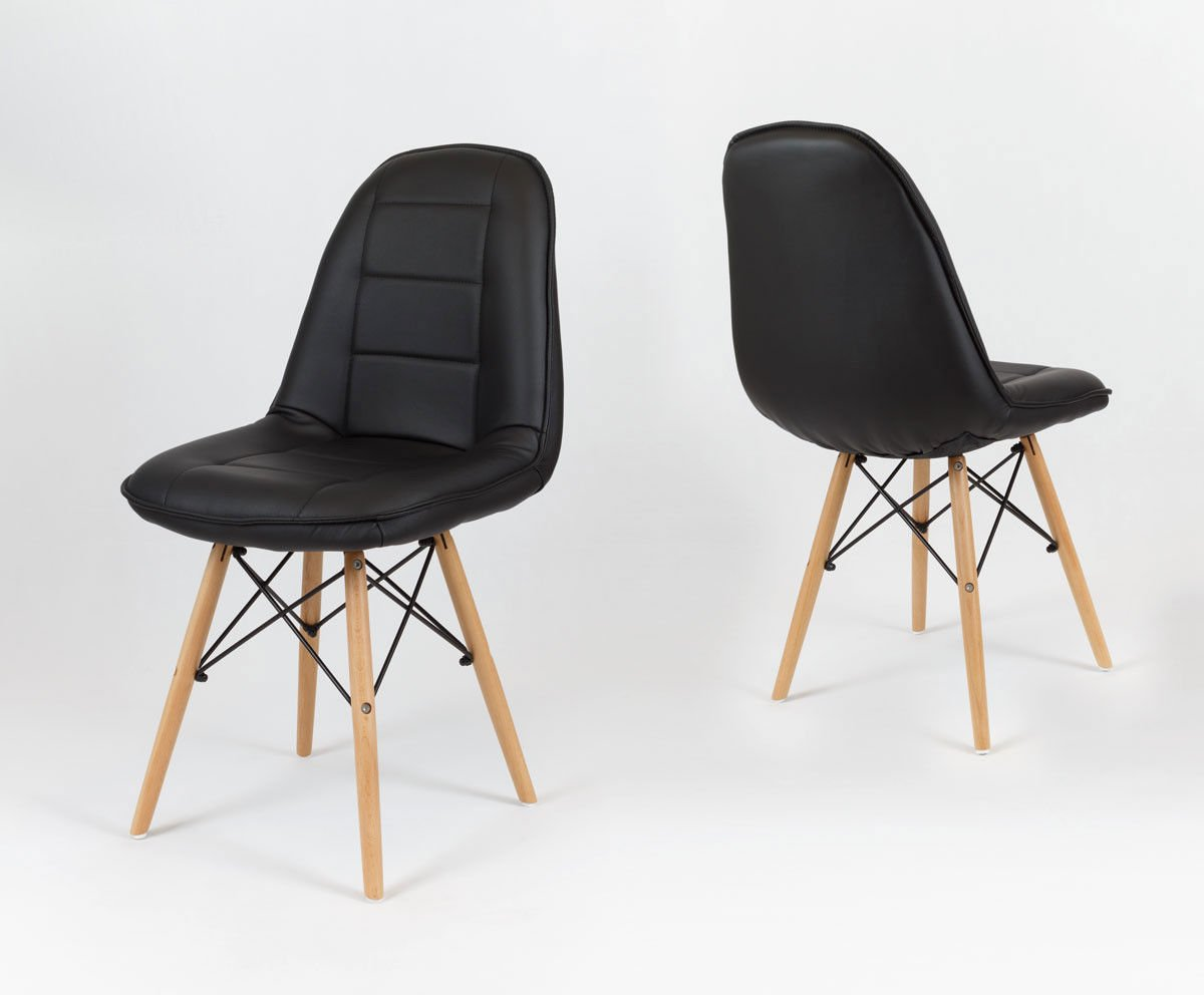 Sk Design Ks009 Black Synthetic Leather Chair With Wooden Legs Black