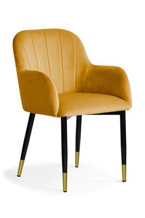 Chair TULIP honey / leg black gold / BL68