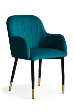 TULIP Chair turquoise / black gold leg / BL85