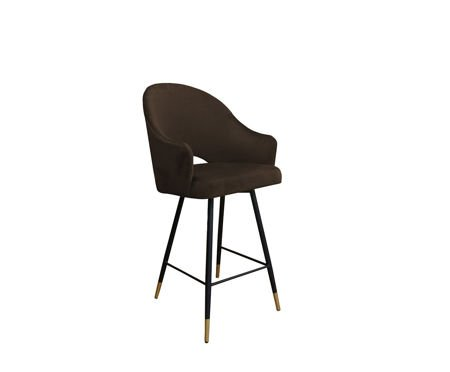 Dark brown upholstered armchair DIUNA armchair material MG-05 with golden leg