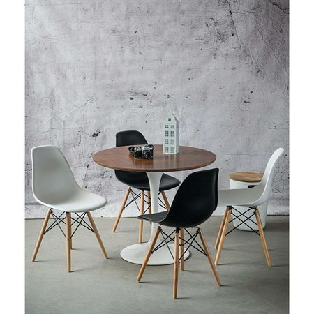 Fiber table white 90 cm with oak top ash-colored