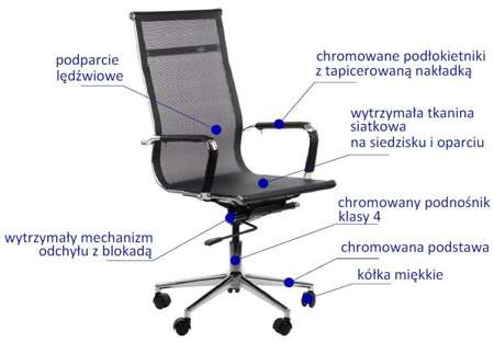 Fotel gabinetowy KOS czarny - biurowy, obrotowy - krzesło obrotowe