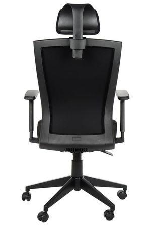 Fotel obrotowy biurowy z mechanizmem synchronicznym, zagłówkiem i regulowanymi podłokietnikami - BORA czarny