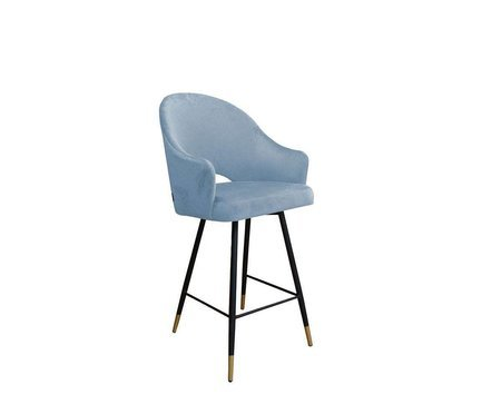 Gray blue upholstered armchair DIUNA armchair material BL-06 with golden leg