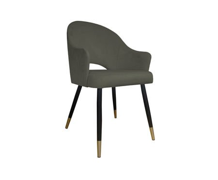 Gray upholstered chair DIUNA armchair material MG-17 with golden legs