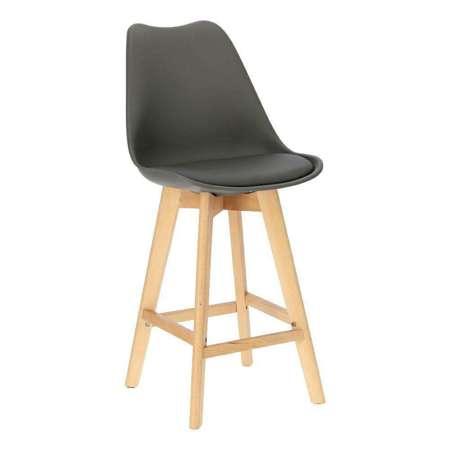 Norden wood low PP bar stool dark gray