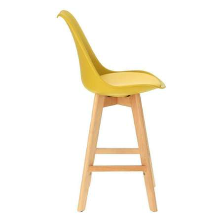 Norden wood low PP bar stool yellow