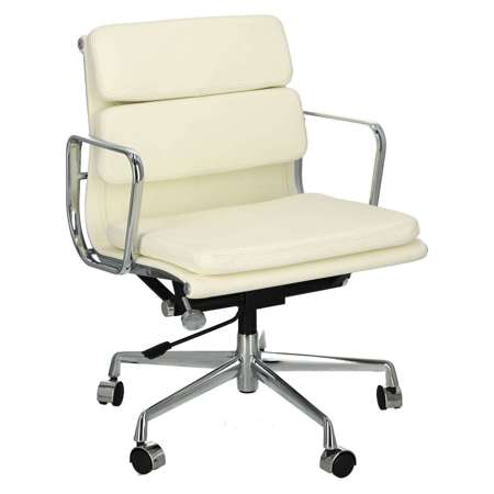 Office chair CH2171T white leather chrome