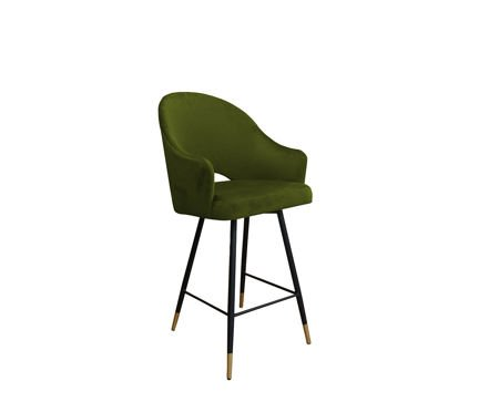 Olive upholstered armchair DIUNA armchair material BL-75 with golden leg