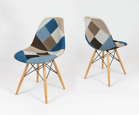 SK DESIGN KR012 TAPICERATED CHAIR PATCHWORK 6 BEECH