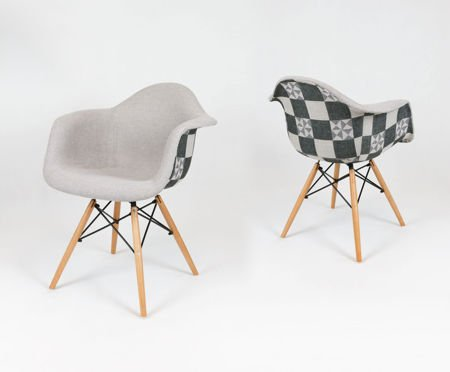 SK DESIGN KR012F TKRSZ UPHOLSTERED ARMCHAIR CHECKERED BEECH