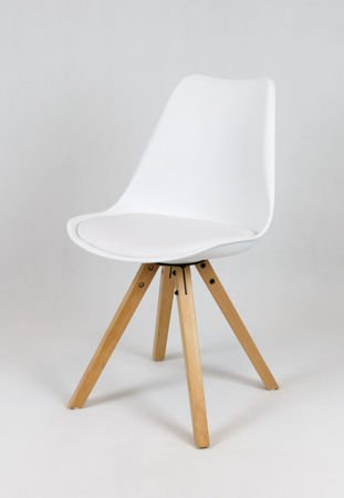 SK Design KR020A White Chair with Polypropylene and Cushion