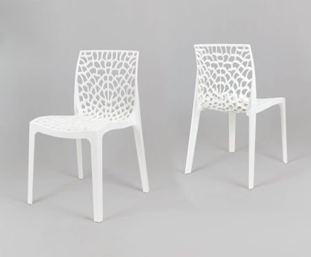 SK Design KR026 White Openwork Polypropylene Garden Chair