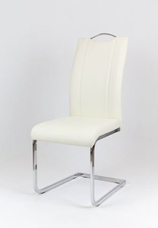SK Design KS003 Cream Synthetic leather chair with chrome rack
