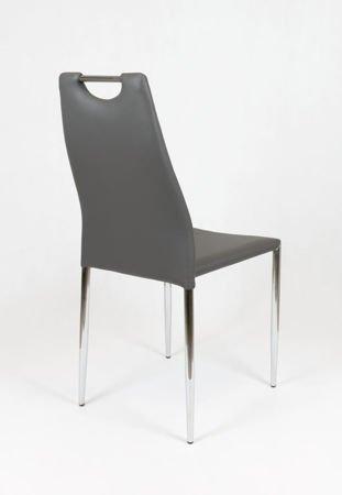 SK Design KS005 Dark Grey Synthetic leather chair with chrome rack