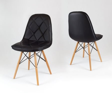 SK Design KS007 Black Synthetic leather chair with wooden legs