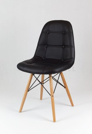 SK Design KS008 Black Synthetic Leather Chair with Wooden Legs
