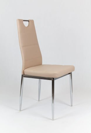 SK DESIGN KS017 BEIGE SYNTHETIC LETHER CHAIR WITH CHROME RACK