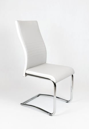 SK DESIGN KS020 LIGHT GREY Synthetic lether chair with chrome rack