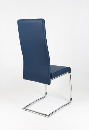 OUTLET (II gatunek) SK DESIGN KS022 DARK BLUE Synthetic lether chair with chrome rack
