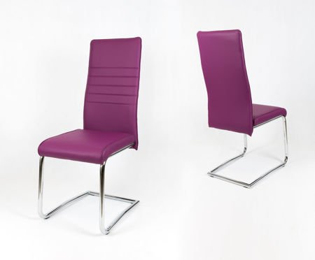 OUTLET (II gatunek) SK DESIGN KS022 PURPLE Synthetic lether chair with chrome rack