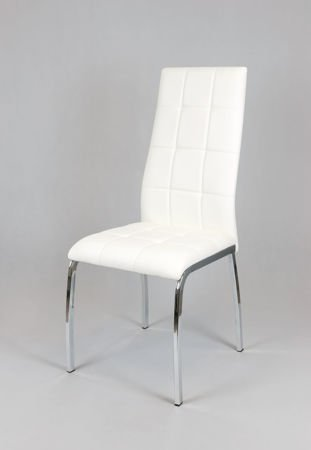 SK DESIGN KS025 WHITE Synthetic lether chair with chrome rack