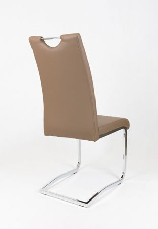 SK DESIGN KS030 BROWN SYNTHETIC LETHER CHAIR WITH CHROME RACK