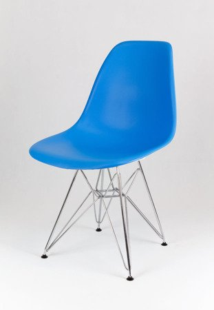 SK Design KR012 Blue Chair, Chrome legs