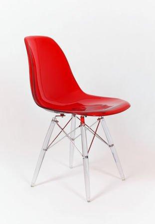 SK Design KR012 Clear Red Chair, Clear legs