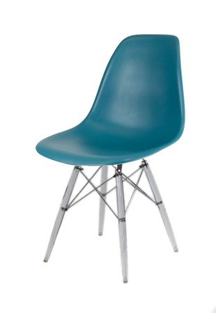SK Design KR012 Navy Green Chair, Clear legs