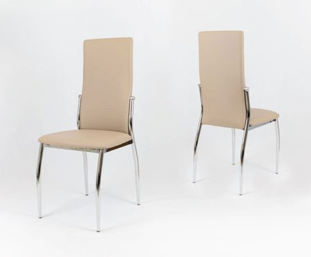 SK Design KS004 Beige Synthetic Leather Chair with Chrome Rack