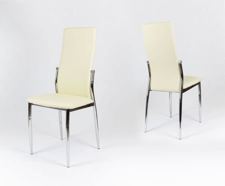 SK Design KS004 Cream Synthetic leather chair with chrome rack