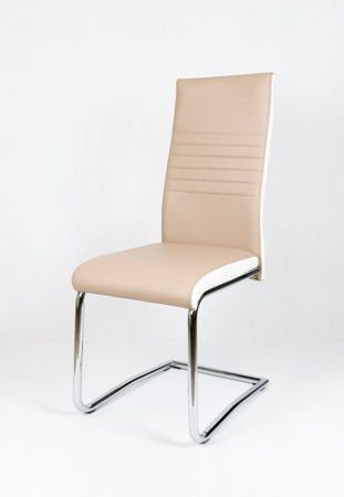 SK Design KS020 Beige Synthetic Leather Chair with Chrome Rack, White Side