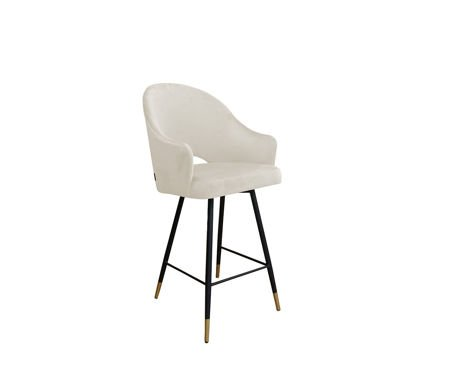 Upholstered armchair DIUNA in ivory color material MG-50 with golden leg