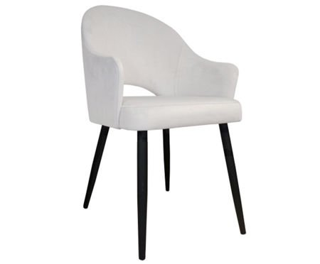 Upholstered chair armchair DIUNA in ivory color material MG-50