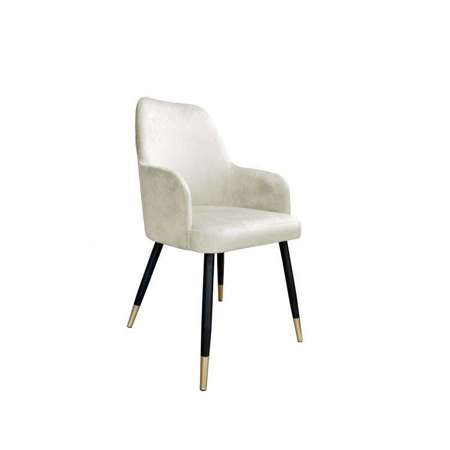 White upholstered PEGAZ chair in ivory color material MG-50 with golden leg