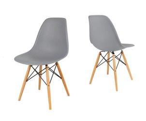 SK Design KR012 Grau Stuhl Buche