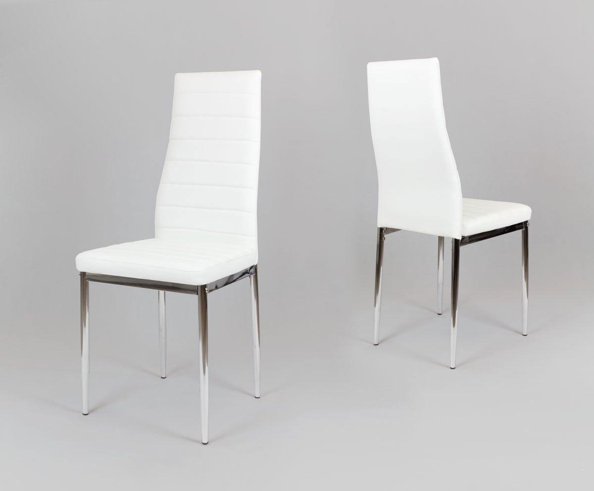sk design ks001 weiss kunsleder stuhl mit chromgestell bia y chrom angebot st hlen salon. Black Bedroom Furniture Sets. Home Design Ideas