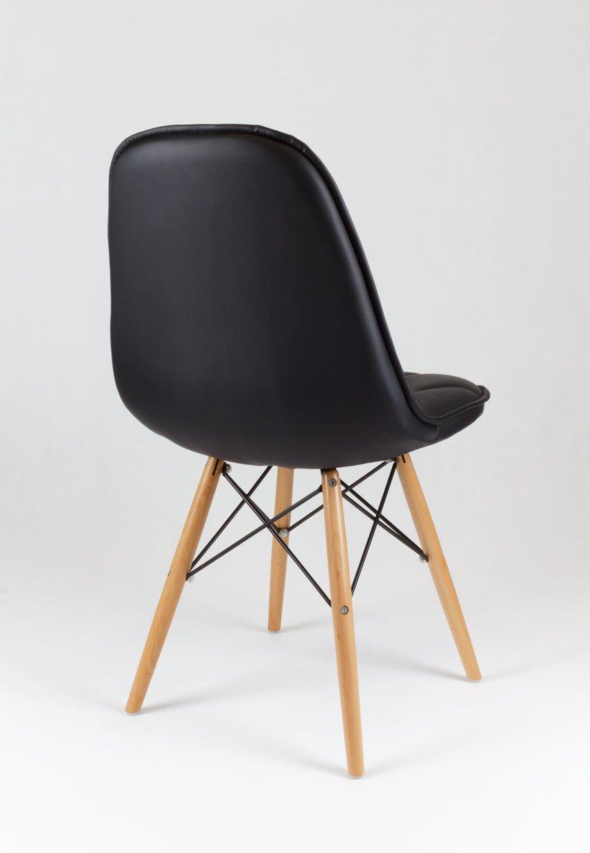 sk design ks007 schwarz kunsleder stuhl mit holzbeine. Black Bedroom Furniture Sets. Home Design Ideas