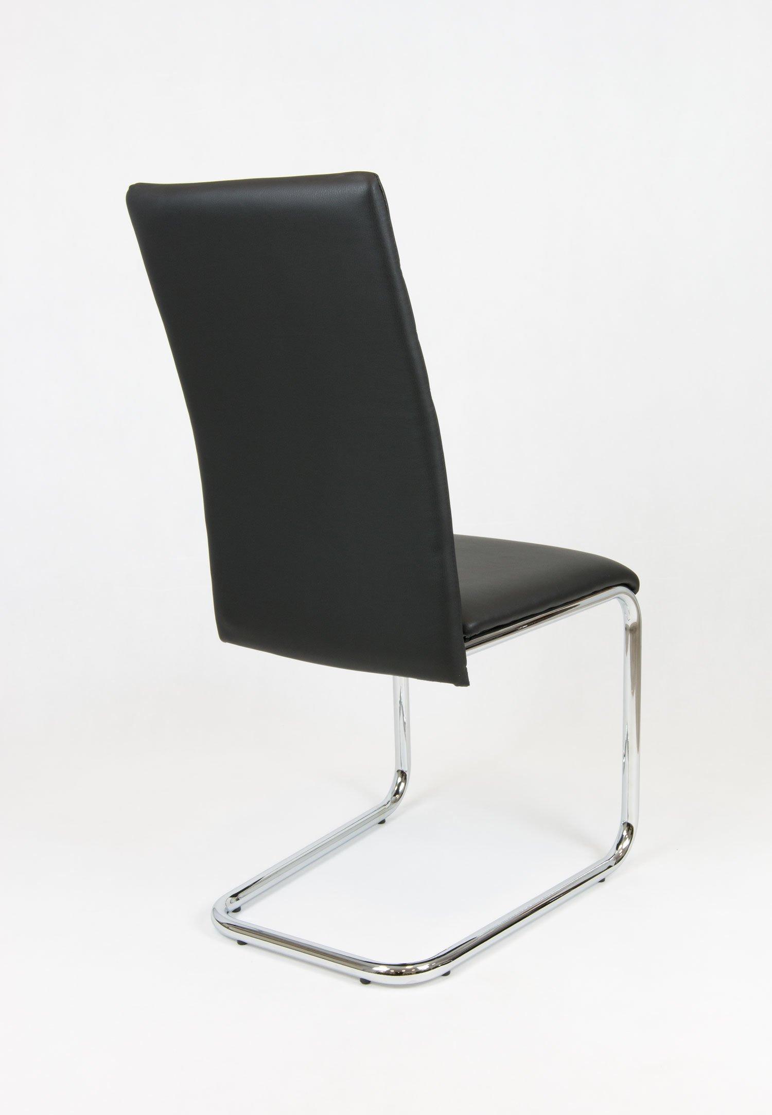 sk design ks024 schwarz kunsleder stuhl chrom schwarz verchromter gebogener rahmen angebot. Black Bedroom Furniture Sets. Home Design Ideas
