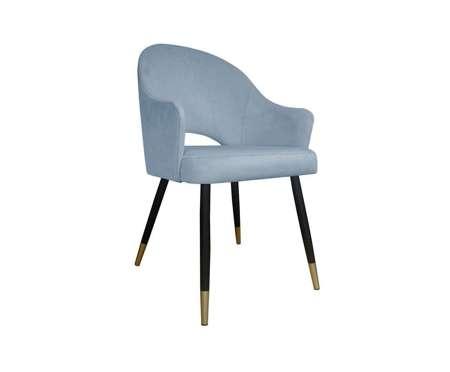 Grau blau gepolsterter Stuhl DIUNA Sessel Material BL-06 mit goldenem Bein