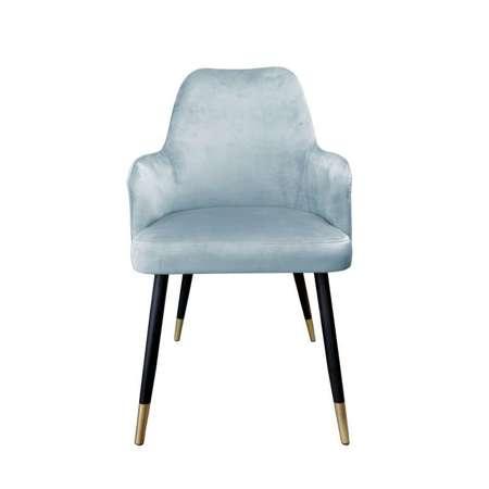 Grau-blau gepolsterter Stuhl PEGAZ Material BL-06 mit goldenen Bein
