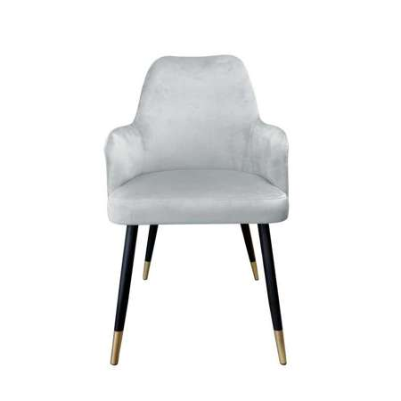 Grau gepolsterter Stuhl PEGAZ Material MG-17 mit goldenem Bein