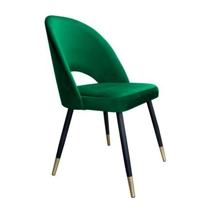 Grün gepolsterter Stuhl LUNA Material MG-25 mit goldenem Bein