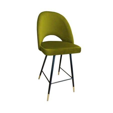 Oliv gepolsterter Hoker LUNA Material BL-75 mit goldenem Bein
